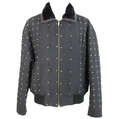 Gianni Versace Jacket Biker Studded Wool Vintage Black, 1980s