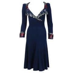 1970's Biba London Sequin Navy Blue Wool Puff-Shoulder Plunge Collar Cuff Dress
