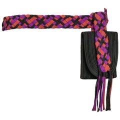 Vintage Yves Saint Laurent 1980's Multicolor Woven Waist Belt Bag