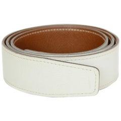 Hermes White/Tan Gold Leather Reversible 32mm Belt Strap 72