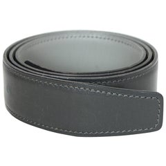Hermes Grey Reversible Leather 32mm Belt Strap 72