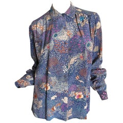 1970s GUCCI silk printed blouse