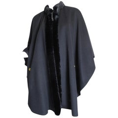 Celine Wool Cape with Fake Fur Collar,  1980s