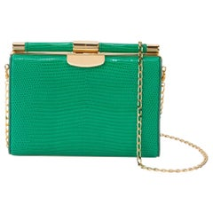 TYLER ELLIS Jamie Clutch Small Emerald Green Lizard Gold Hardware