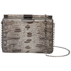 TYLER ELLIS Jamie Clutch Small Natural Blue/Black Lizard Gunmetal Hardware