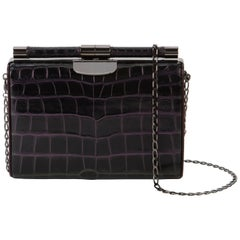 TYLER ELLIS Jamie Clutch Small Black/Purple Alligator Gunmetal Hardware