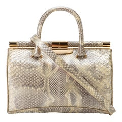 TYLER ELLIS Jamie Doctor Medium Natural Gold Glossy Python Gold Hardware