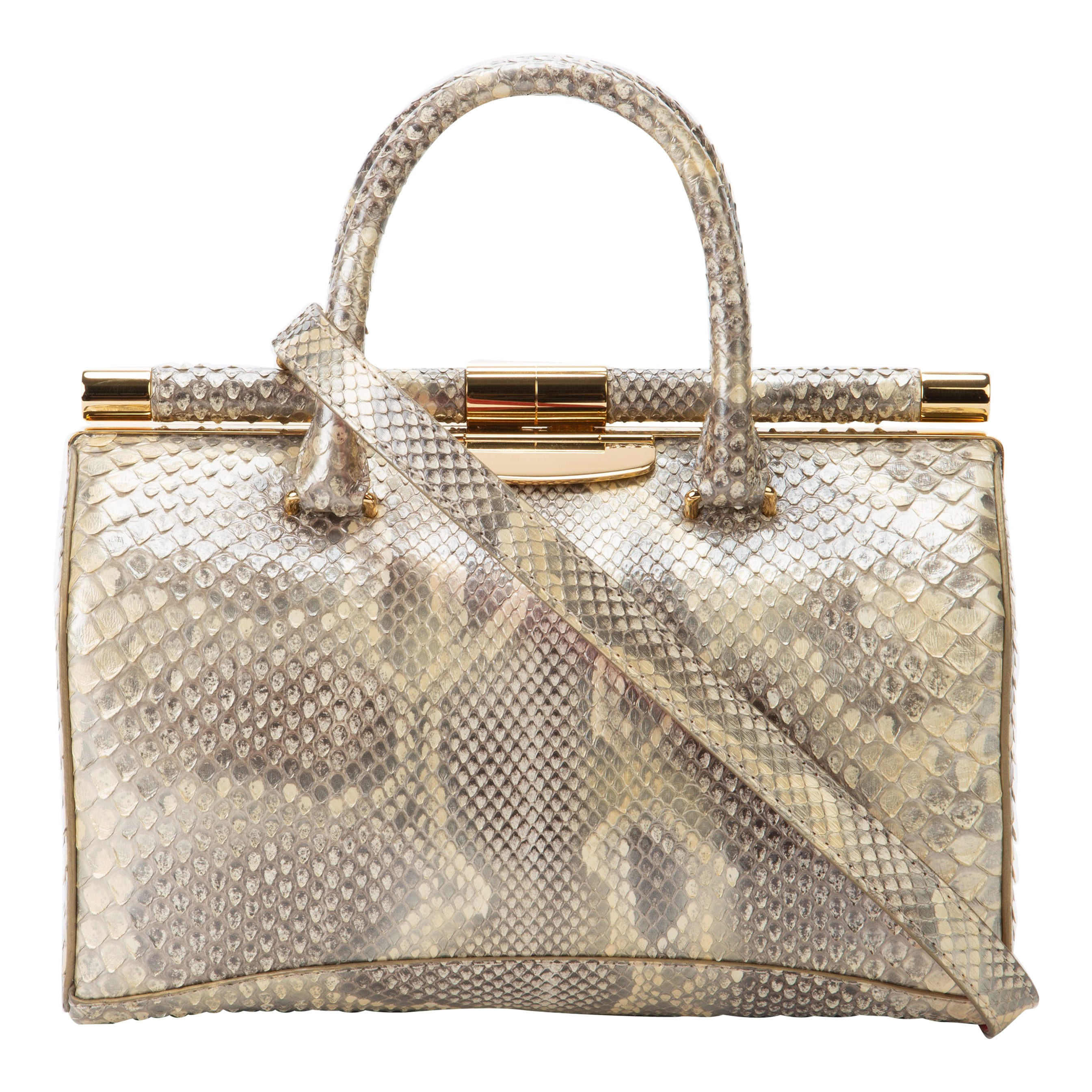 TYLER ELLIS Jamie Doctor Medium Golden Dust Glossy Python Gold Hardware