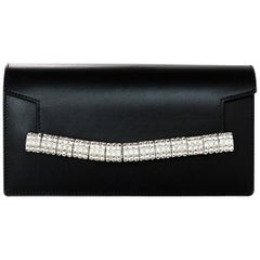 Calvin Klein 205W39NYC 2018 Black Leather Crystal Strap Clutch Bag rt. $1,290