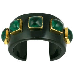 Chanel Cuff with Emerald Poured Glass Stones