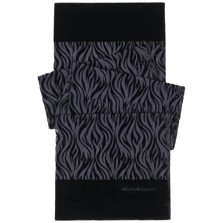 SALVATORE FERRAGAMO Black Tiger Animal Stripe Velvet Burnout Oblong Silk Scarf