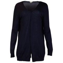 Hermes Navy Cashmere/Silk Open Front Cardigan Sz Large