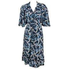 1970's Lee Bender of London Deco Print Rayon Capelet Flutter Button-Down Dress