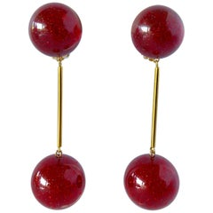 Vintage French Red Stardust Mod Ball Statement Earrings