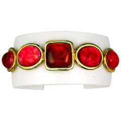 Chanel Bakelite and Poured Glass Cuff