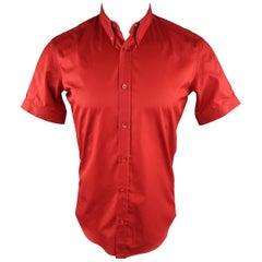 ALEXANDER MCQUEEN Size XS Red Solid Cotton Short Sleeve Shirt