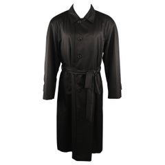 BRIONI 38 Black Solid Silk Long Trenchcoat