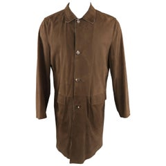 KITON 40 Brown Solid Suede Reversible Coat