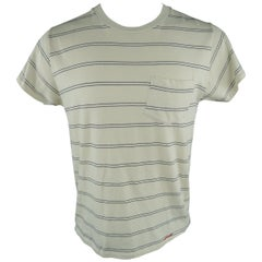 LEVI'S VINTAGE Size M Off White Stripe Cotton T-shirt