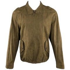 ERMENEGILDO ZEGNA 40 Olive Solid Polyamide Jacket