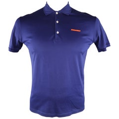 DSQUARED2 Size L Navy Solid Pique POLO