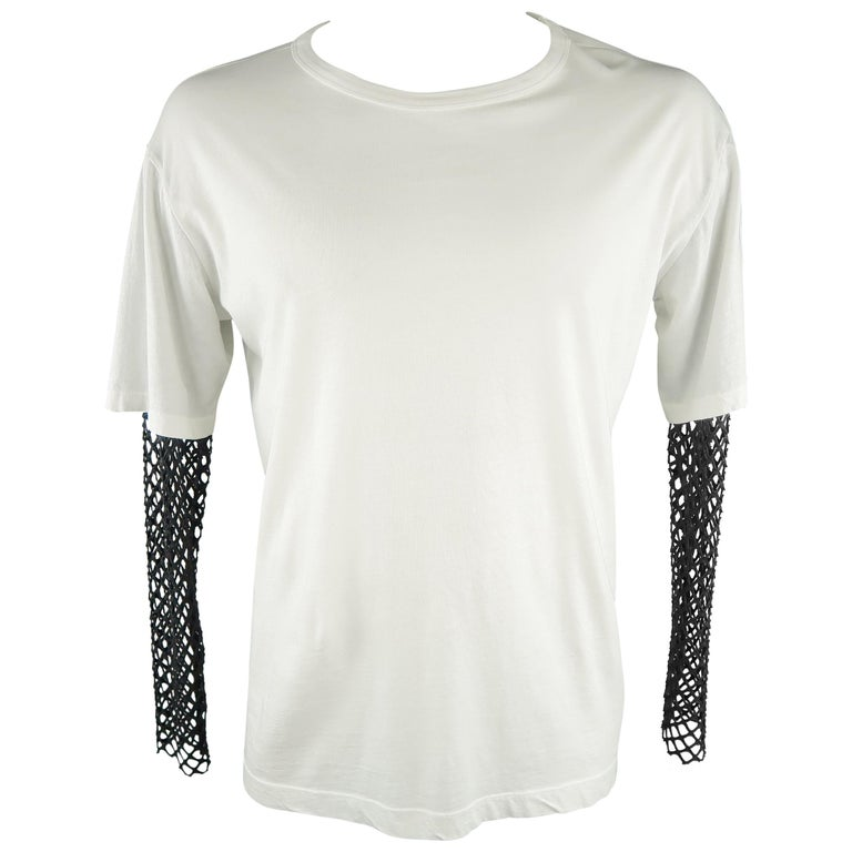 ef2383eb58315a DRIES VAN NOTEN Size L White Solid Cotton Blend Long Sleeves T-shirt For  Sale