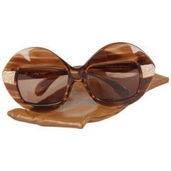 Serge Kirchhofer Vintage 70s Oversized Sunglasses Mod. 467 Gold Plated