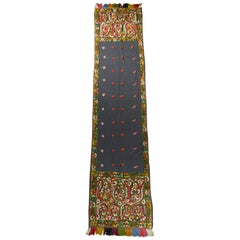 Dehli stole in tulle embroidered with floss-silk  - India for export Circa 1830