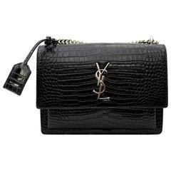 Saint Laurent Sunset Bag Black Leather Crocodile Print