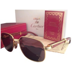 51222896f7 New Cartier Wood Monceau Gold   Wood 55MM Brown Lenses France Sunglasses
