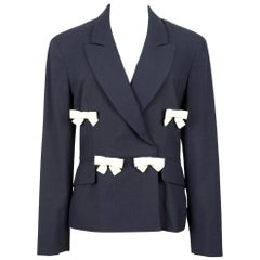 1990s Moschino Cheap & Chic Black & Ivory Light Wool Bow Decorated Blazer