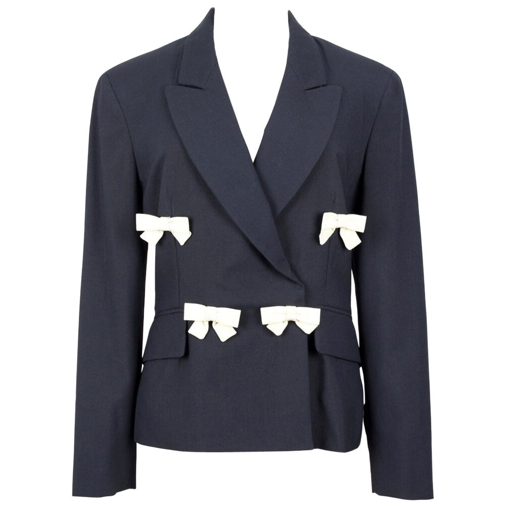 1990s Moschino Cheap & Chic Black & Ivory Light Wool Bow Decorated Blazer