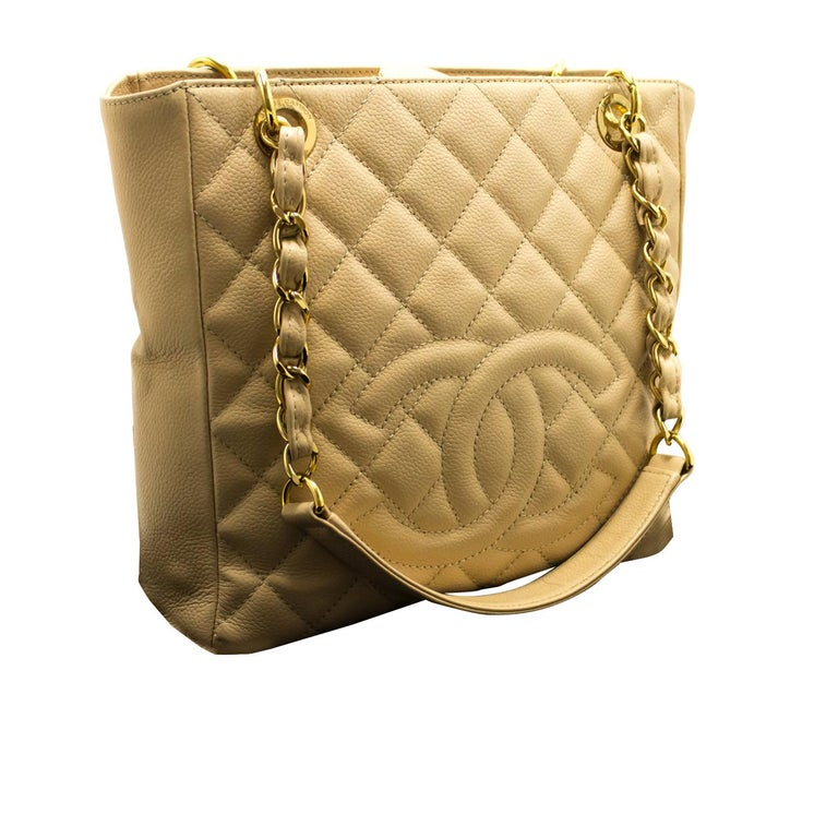 06b22c0f4d71 CHANEL Caviar PST Chain Shoulder Bag Ivory Shopping Tote Quilted For Sale