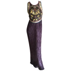 Mary McFadden Couture for Neiman Marcus Plisse Pleated Sleeveless Evening Dress