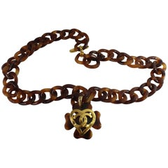 1995 Chanel Heart Vintage Necklace in  Bakelite Tortoise Style