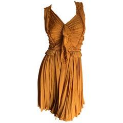 Isabel Toledo Pumpkin Plisse Pleated Silk Cocktail Mini Dress