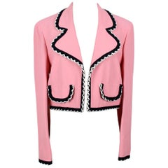 1990s Moschino Cheap & Chic Flamingo Pink Trimmed Open Front Cropped Jacket