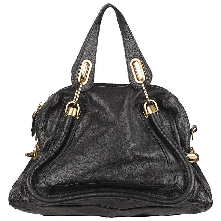 f39350732f86 Chloe Black Leather Paraty Satchel Bowling Bag For Sale at 1stdibs