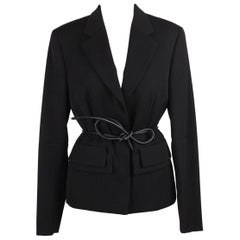 Gucci Black Wool Blazer with Leather Belt Tom Ford Era Size 42