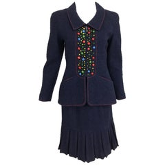 Chanel Navy Blue Appliqued Fitted Suit with Short Pleated Skirt 1997A.