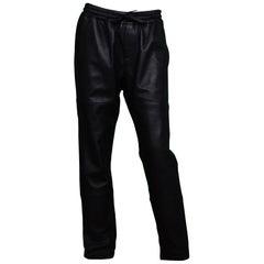 Zadig & Voltaire Black Leather Drawstring Jogger Pants Sz 40