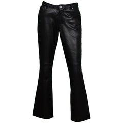 YSL Yves Saint Laurent Black Leather Pants Sz 38