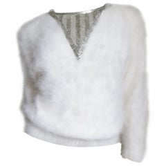 New Vintage 1980s J. Orr White Angora Sweater