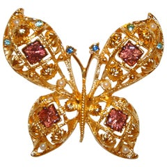 "Beautifully Delicate Gilded Gold Vermeil Hardware Etched ""Butterfly"" Brooch"