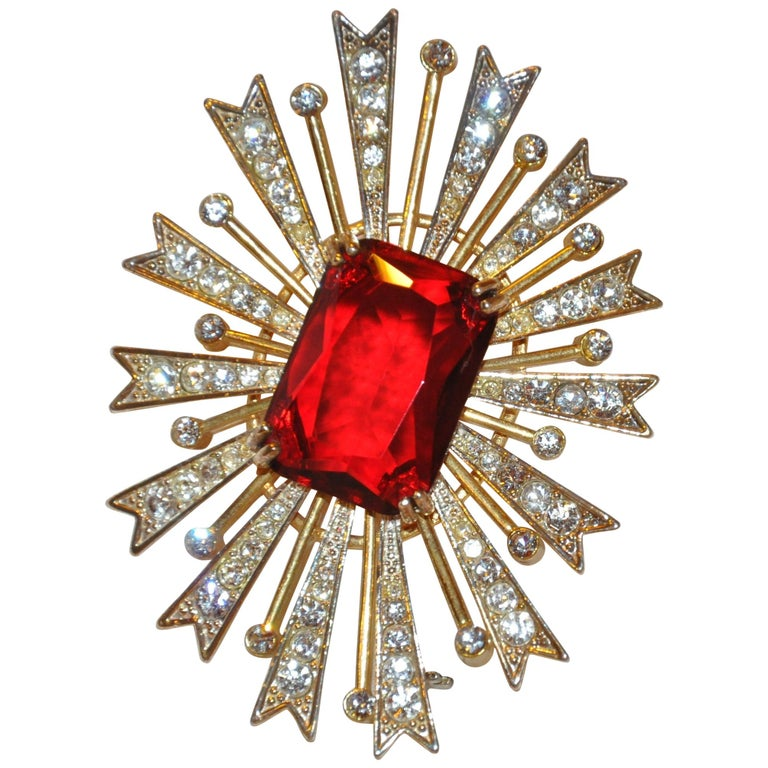 "Kenneth Jay Lane Large Whimsical ""Ruby"" & ""Diamonds"" ""Starburst"" Brooch For Sale"