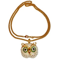 "Kenneth Jay Lane MultiColor Enamel with Gilded Gold Hardware ""Owl"" Necklace"