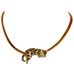 "Kenneth Jay Lane Whimsical Brown, Cream & Black ""Relaxing Leopard"" Necklace"