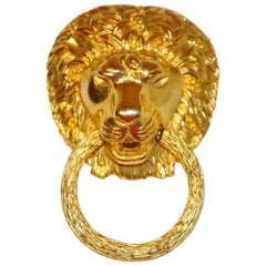 "Kenneth Lane Large Gilded Gold Vermeil Hardware ""Lion with Ring"" Pendant/Brooch"