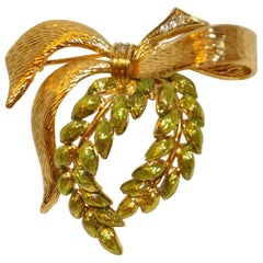 "Gilded Gold Vermeil with Enamel ""Wreath with Bow"" Brooch"