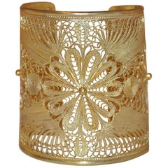 Yvone Christa Silver-Base with Gold-Plated Overlay Filigree Cuff